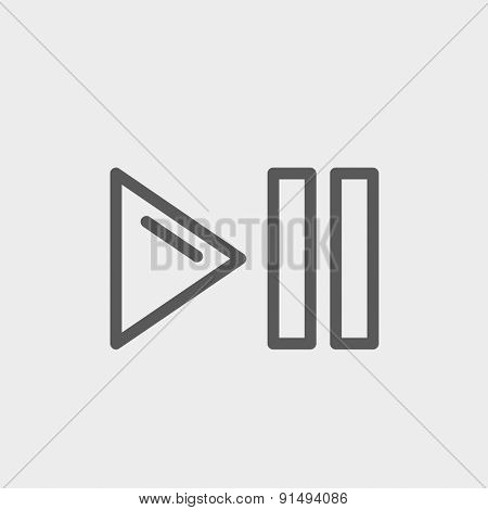 Play, pause button icon thin line for web and mobile, modern minimalistic flat design. Vector dark grey icon on light grey background.