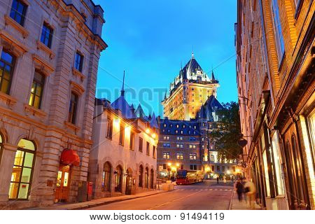 Chateau Frontenac at dusk in Quebec City with street