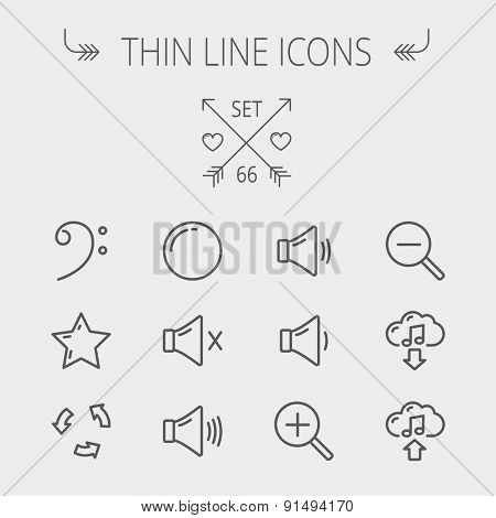 Music and entertainment thin line icon set for web and mobile. Set includes- C-clef, star, replay, stop, volume speaker icons. Modern minimalistic flat design. Vector dark grey icon on light grey poster