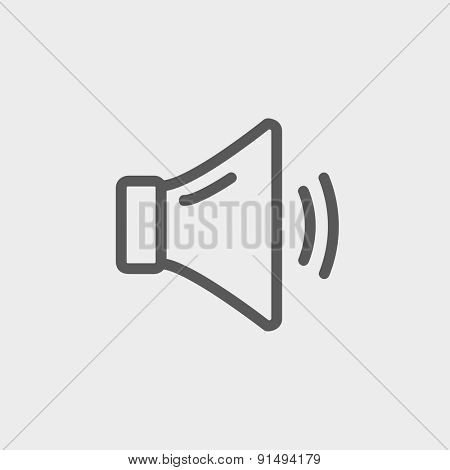 Medium speaker volume icon thin line for web and mobile, modern minimalistic flat design. Vector dark grey icon on light grey background. poster