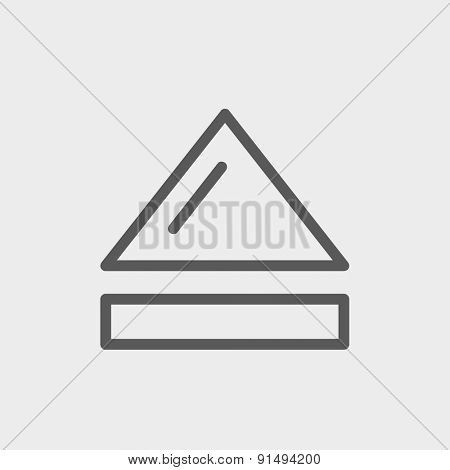 Eject button icon thin line for web and mobile, modern minimalistic flat design. Vector dark grey icon on light grey background.