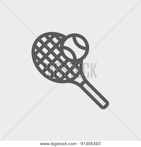 Tennis racket and ball icon thin line for web and mobile, modern minimalistic flat design. Vector dark grey icon on light grey background.