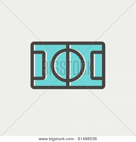 Basketball court icon thin line for web and mobile, modern minimalistic flat design. Vector icon with dark grey outline and offset colour on light grey background.