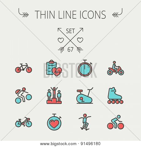 Sports thin line icon set for web and mobile. Set includes -stopwatch, skatboeard, bicycle, mountain bike, motorbike, roller skate, heart and time, winners  icons. Modern minimalistic flat design