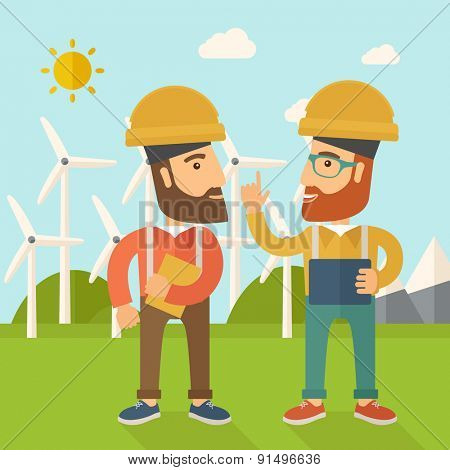 A two workers wearing hard hat talking infront of windmills under the sun. A Contemporary style with pastel palette, soft blue tinted background with desaturated clouds. Vector flat design