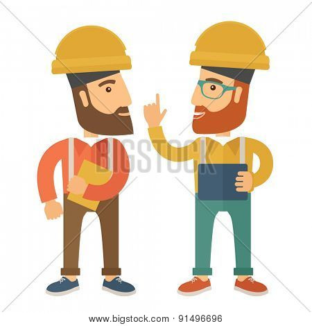 A two workers wearing hard hat talking .A Contemporary style. Vector flat design illustration isolated white background. Square layout