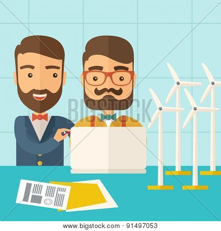 A two caucasian workers using laptop with windmills as power generator. A Contemporary style with pastel palette, soft blue tinted background. Vector flat design illustration. Square layout.