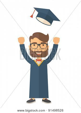 A happy man throwing the graduation cap in the air. A Contemporary style. Vector flat design illustration isolated white background. Vertical layout