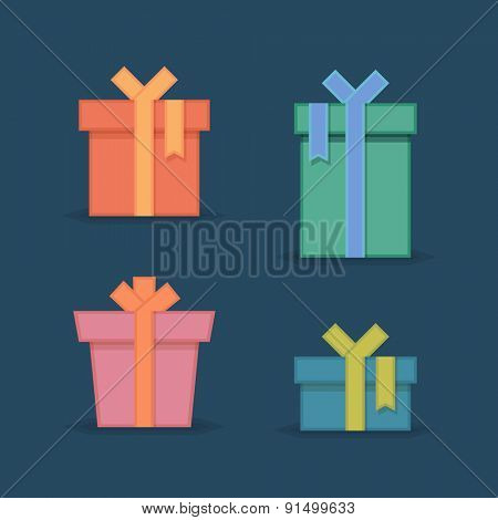Flat gift box icon set. Gift package. Flat gift box vector icons