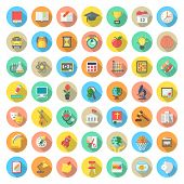 Set of modern flat round vector icons of school subjects activities education and science symbols in colorful circles with long shadows. poster