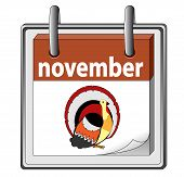 vector image of calender with Thanksgiving day`s date on it poster