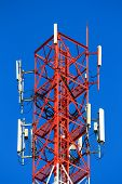 telephone pole telecommunications tower on blue sky background poster