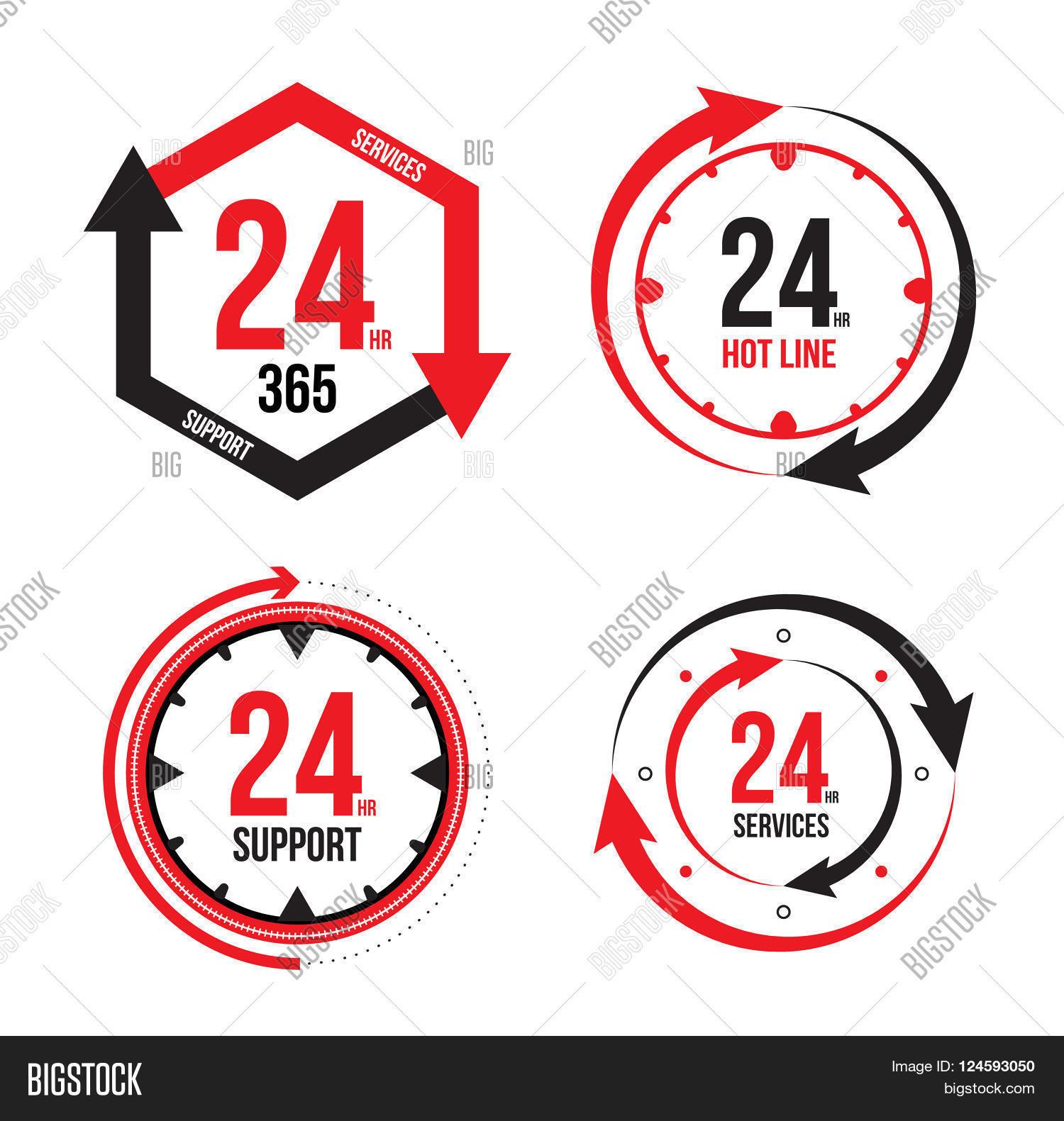 Vector : 24/7 365 Days Icon, B...