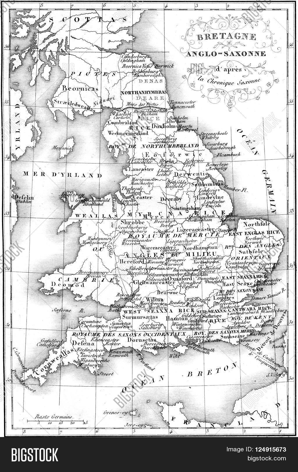 Anglo Saxon Map Of England.Britain Anglo Saxon Image Photo Free Trial Bigstock