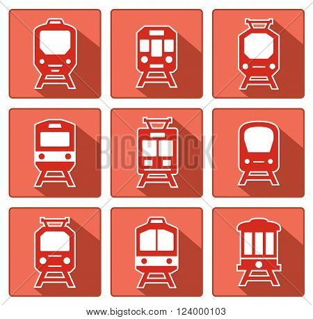 red train silhouette on flat design style with shadow