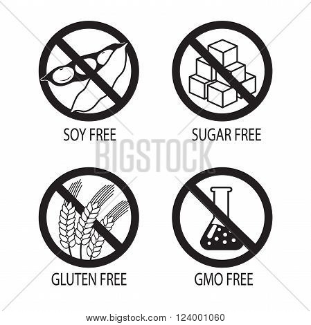 Healthy Food Symbols. Gluten Free. Sugar Free. Gmo Free. Soy Free. Vector Silhouette On A White Background.