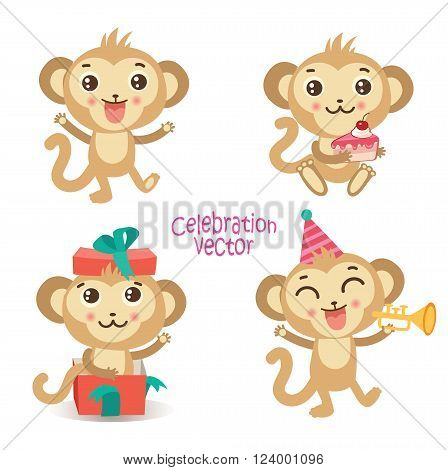 Set Of Cute Fun Monkey. Cartoon Animal. Celebration Vector Collection. Cute Monkey Tattoo. Cute Monkey Images. Cute Monkey Doll. Cute Monkey Plush. Cute Monkey Baby. Cute Monkey Playing.