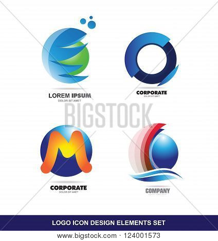 Vector company logo icon element template set sphere circle alphabet letter m blue green orange red 3d