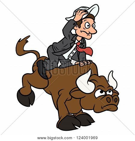 Illustration of the businessman trying to stay on bull symbolizing risk in business.