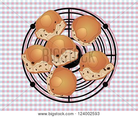 an illustration of a wire rack with buns cooling for afternoon tea on a gingham tablecloth