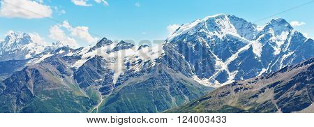 scenic alpine landscape with mountain ranges. natural mountain background