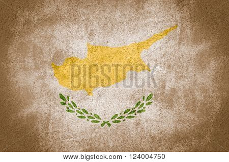flag of Cyprus or Cypriot banner on stone background