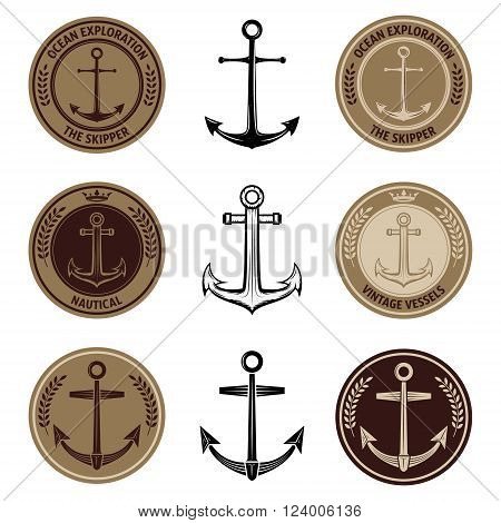 Set of the nautical labels with anchors. Anchors emblems. Ocean exploration. Anchors icons.