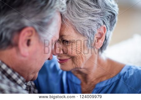 Clos-up of senior couple smiling and embracing and each other