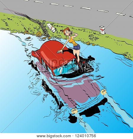 Car accident girl driver. Transport and machines. The rules of the road. The car sank under water