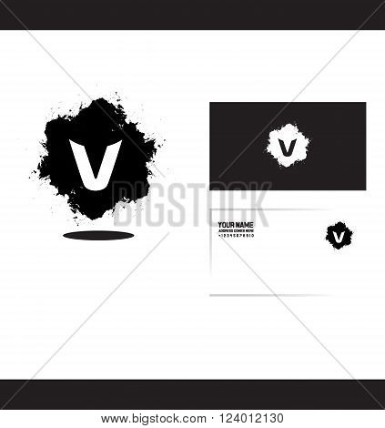 Vector company logo icon element template alphabet letter v grunge splash black and white
