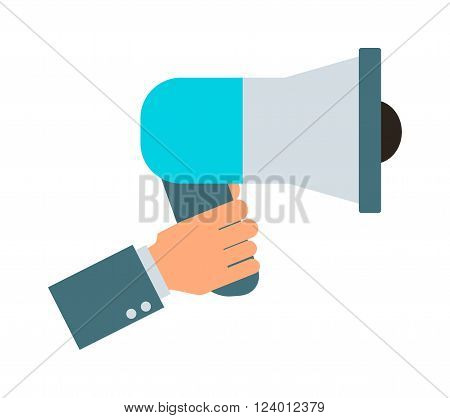 Megaphone hand vector illustration. Megaphone hand isolated on white background. Megaphone hand vector icon illustration. Megaphone hand isolated vector. Megaphone hand silhouette