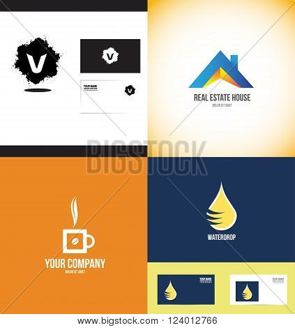 Vector company logo icon element template set alphabet letter grunge splash real estate hot coffee cup bean water drop droplet