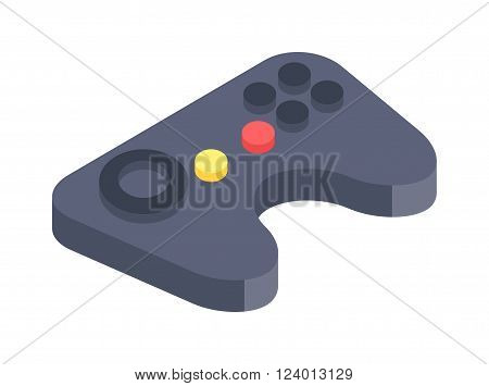Game console joystick vector illustration. Game console joystick isolated on white background. Game console joystick vector icon illustration. Game console joystick isolated vector silhouette