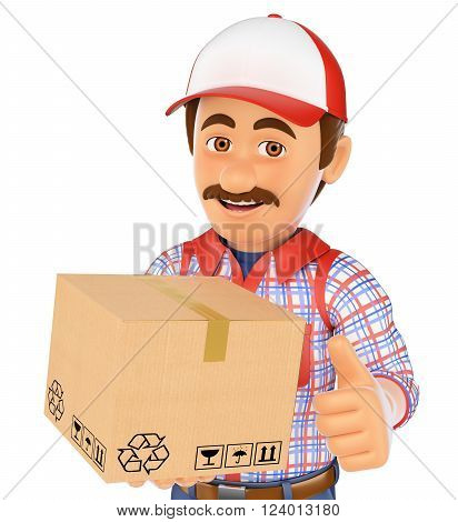 3d working people. Delivery man with a box. Isolated white background.