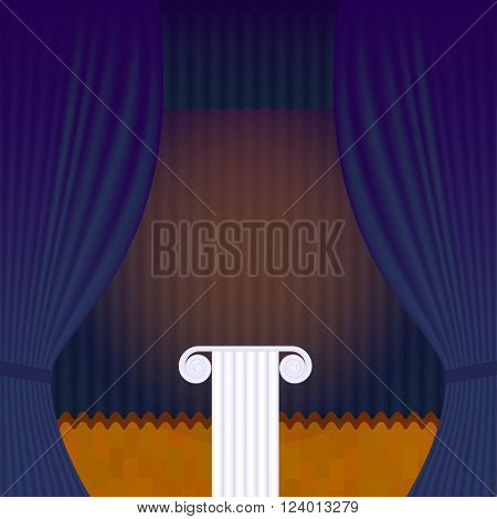 A scene with a blue theater curtain and pedestal. Vector background for announcements of events, lectures and exhibitions