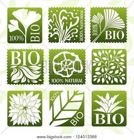 Natural organic product labels, stikers and badges. Bio product.