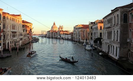 Venice Italy. Grand Canal and Basilica Santa Maria della Salute. View from Ponte dell Accademia.