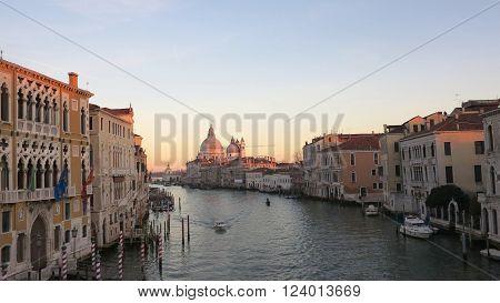 Venice Italy. Grand Canal and Basilica Santa Maria della Salute. View from Ponte dell Accademia.