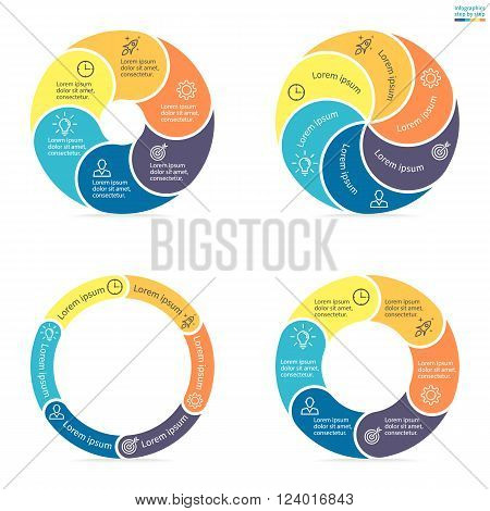 Circular infographics step by step with rounded colored sections. Set of flat pie charts. Chart, diagram with 6 steps, options, parts, processes. Vector circle template in blue and yellow.