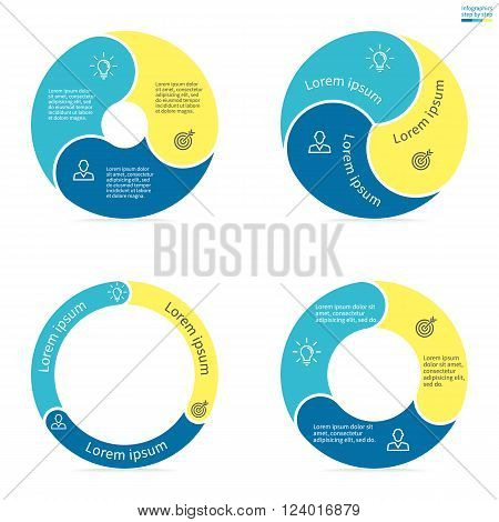 Circular infographics step by step with rounded colored sections. Set of flat pie charts. Chart, diagram with 3 steps, options, parts, processes. Vector circle template in blue and yellow.