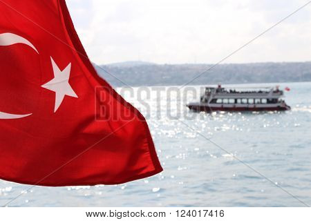 Flag, Turkish Flag in Bosphorus Istanbul Turkey ** Note: Soft Focus at 100%, best at smaller sizes