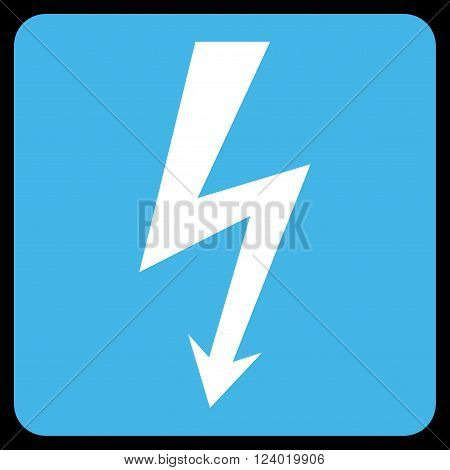 High Voltage vector icon. Image style is bicolor flat high voltage pictogram symbol drawn on a rounded square with blue and white colors.