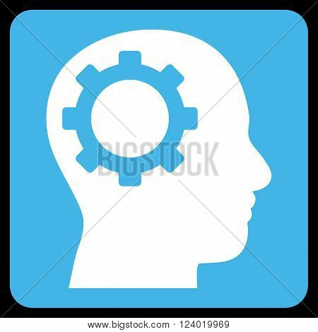 Intellect Gear vector icon symbol. Image style is bicolor flat intellect gear iconic symbol drawn on a rounded square with blue and white colors.