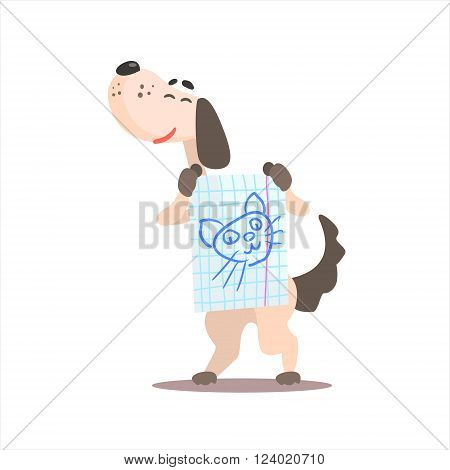Dog Holding Drawing Of Cat Funny Childish Colorful Flat Vector Illustration On White Background