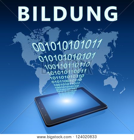 Bildung - german word for education illustration with tablet computer on blue background.3D rendering, poster