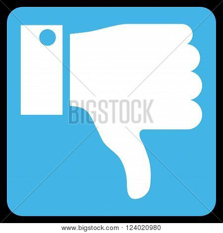 Thumb Down vector icon symbol. Image style is bicolor flat thumb down icon symbol drawn on a rounded square with blue and white colors.