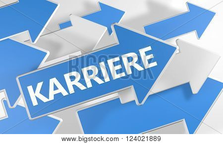 Karriere - german word for career - 3d render concept with blue and white arrows flying over a white background.