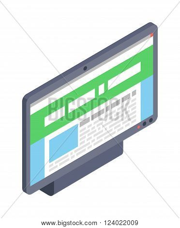 Computer monitor icon modern flat style illustration. Isometric monitor icon. Modern flat style computer monitor. illustration of isometric flat screen computer monitor.