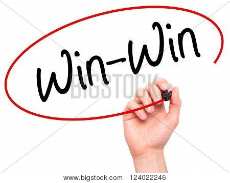 Man Hand Writing Win-win With Black Marker On Visual Screen.