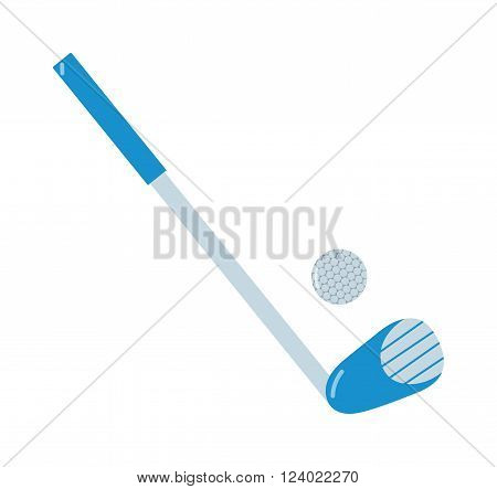 Golf putter and golf ball on white background. Golf putter with golf ball on white background.